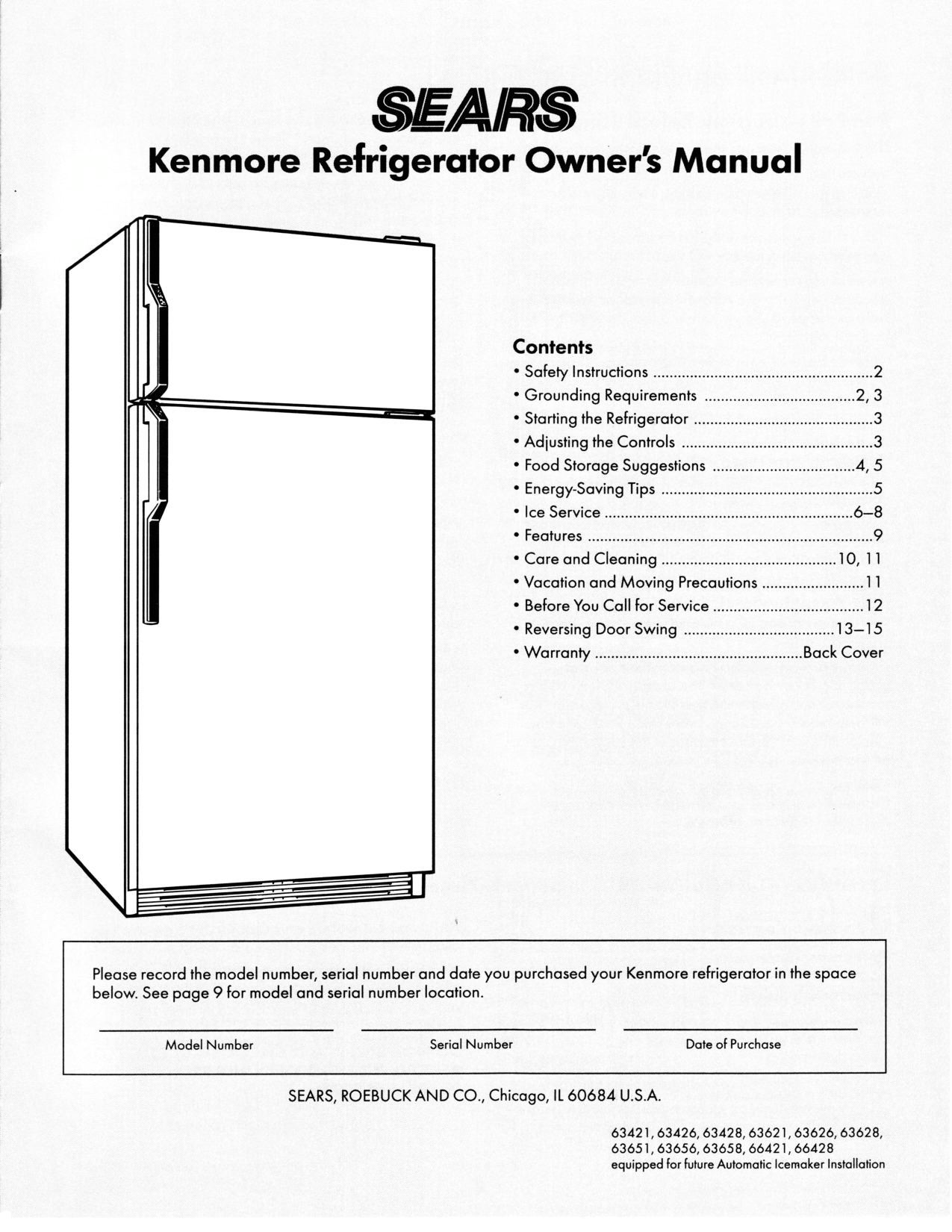 Kenmore Refrigerator Owners Manual Parts Diagram List And 1275x1650